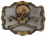 24ct. Gold and Silver Plated Skull and Crossbones Belt Buckle with display stand. Code GB8